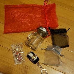 2 jeweled novelty keychains & small Mason jar